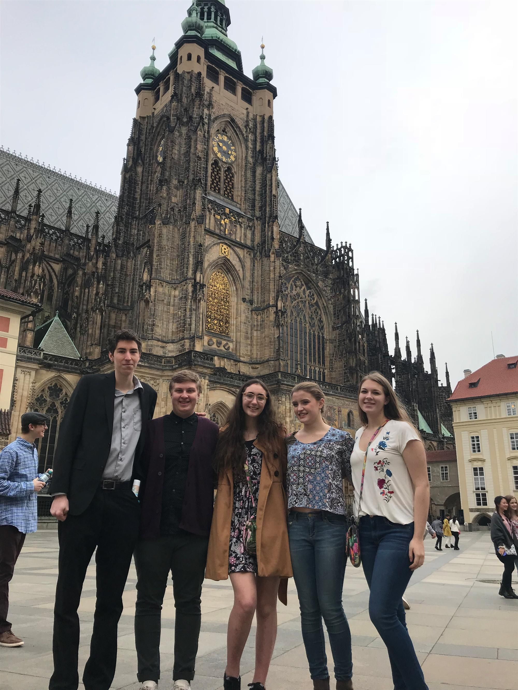 Five of our Clarence music students enjoying the Prague Castle on their spring Break tour with the GBYO