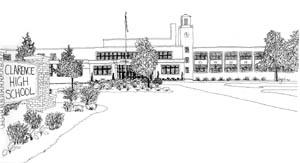 Pencil sketch of Clarence High School