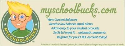 My School Bucks.com logo. View current balances, Receive low balance email alerts, Add money to your student accounts,