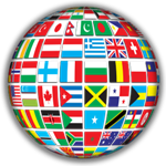 Globe made of different flags